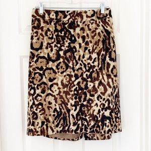Leopard Animal Print Pencil Career Skirt Retro